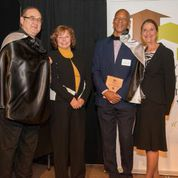 Dr. Carl Hensel and Dr. Kary Taylor accept their Hero Awards, with Cllrs Villeneuve and Hepner