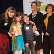 Ms Bentley & Firsties Mauri and Ryan  accepting hero award, with Councillors Judy Villeneuve and Linda Hepner