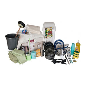 Basic household supplies, utensils, towels, and toiletries