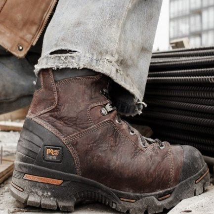 Steel-toed boots in a contruction work site